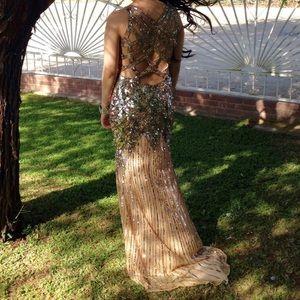 Gold Sequin Long Dress
